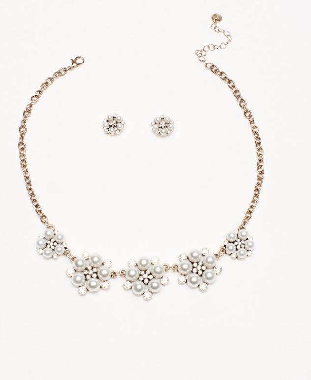 Aretes y collar de perlas